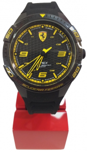 Ferrari Apex Quartz Watch With Silicon Strap Black Yellow