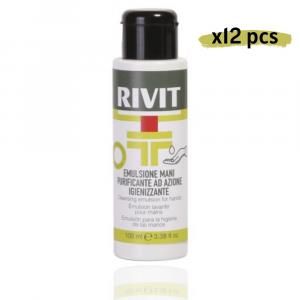 RIVIT Emulsione Mani Purificante Azione Igienizzante Gel 100ML Confezione da 12
