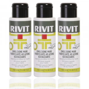 RIVIT Emulsione Mani Purificante Azione Igienizzante - Gel 100ML Confezione da 3