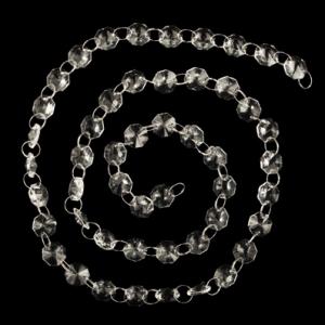 Catena ottagoni a raggera 14 mm lunga circa 100 cm. Cristallo colore puro con anello brisè nickel.