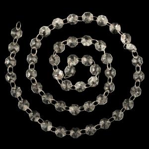 Catena di ottagoni 32 facce 14 mm lunga circa 100 cm. Cristallo colore puro con anello brisè nickel.