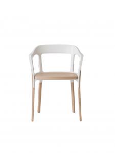 Sedia Steelwood Chair, rovere naturale e acciaio bianco, Magis
