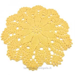 Centrino giallo chiaro ad uncinetto 29 cm Handmade - Italy