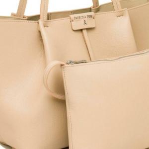 Borsa shopping media in pelle colore beige - PATRIZIA PEPE
