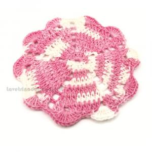 Sottobicchiere rosa sfumato ad uncinetto 10 cm Handmade - Italy