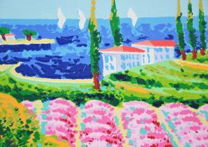 Faccincani Athos Serigrafia polimaterica su canvas Formato cm 84x54