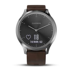 Garmin - vívomove® HR Premium, Silver con cinturino in pelle marrone scuro