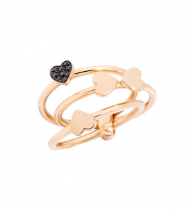 ANELLO LUCKY IN LOVE Oro rosa 9kt, Diamanti black trattati