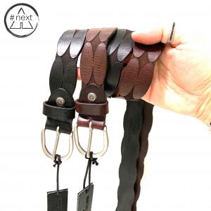 Minoronzoni 1953 - Cintura pelle invecchiata con lavorazione geometrica - Nero