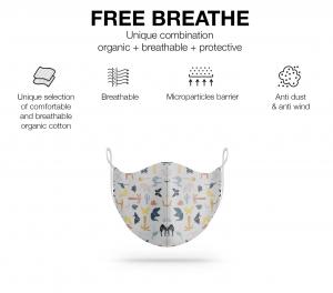 Maschera lavabile in cotone biologico fantasia origami animali