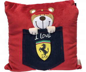 Scuderia Ferrari Denim Teddy Pocket Cushion