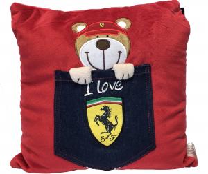 Scuderia Ferrari Denim Teddy Pocket Cushion
