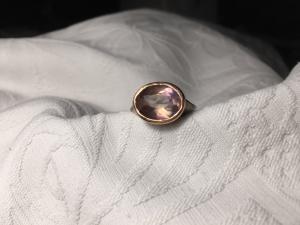 Anello Ovale Quarzo Fume'/Oro Rosa 9k