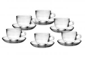 Set di 6 tazze da tè in vetro con 6 piattini cm.20x30,5x10h