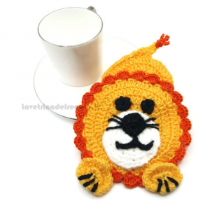 Presina leone ad uncinetto 10x14 cm Handmade - Italy