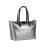 Shopper metallizzata silver con borchie - GUM DESIGN