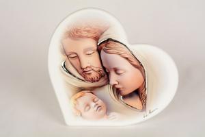 Quadro Sacra Famiglia Forma di Cuore 16x14 cm