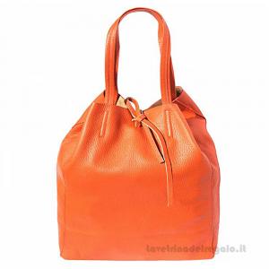Borsa shopping Arancione a Spalla in pelle - Babila - Pelletteria Fiorentina