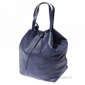 Borsa shopping Blu Scuro a Spalla in pelle - Babila - Pelletteria Fiorentina