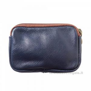 Portamonete Blu Scuro con Zip in pelle - Pelletteria Fiorentina
