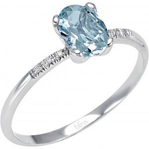 Bliss ANELLO oro bianco, Diamanti e  Acquamarina ref. 20074180