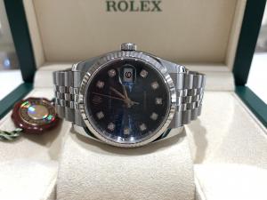 Rolex Datejust 36 mm Blu Scritte e Diamanti 116234