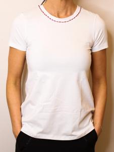 T-Shirt bianca nappine e swarovski