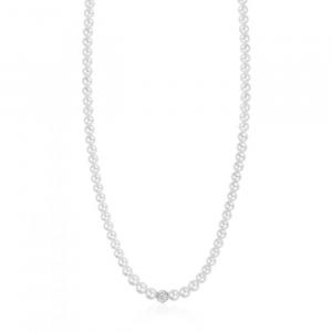 Luca Barra - Collana Con Perle Bianche E Sfera Con Cristalli