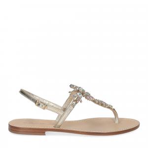 De Capri a Paris sandalo infradito gioiello pelle platino-2