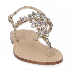 De Capri a Paris sandalo infradito gioiello pelle platino-3