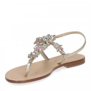 De Capri a Paris sandalo infradito gioiello pelle platino-4