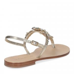 De Capri a Paris sandalo infradito gioiello pelle platino-5