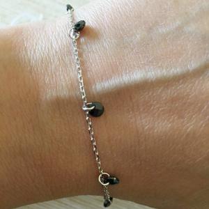 Bracciale catena in argento 925 % con quarzi idrotermali neri