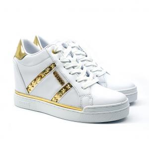 Sneaker bianca con zeppa interna Guess