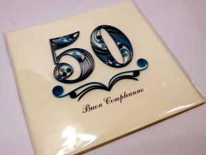Biglietto augurale in filigrana 50 anni lui Origamo
