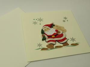 Biglietto augurale in filigrana 'arriva Babbo Natale'