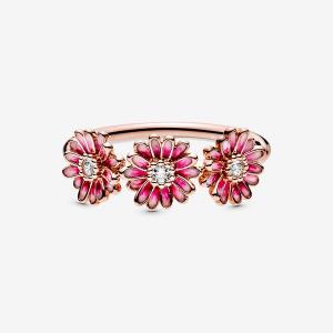 Anello con tre Margherite rosa