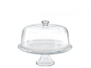 Alzata in vetro per dolci e frutta con cupola cm.diam.31
