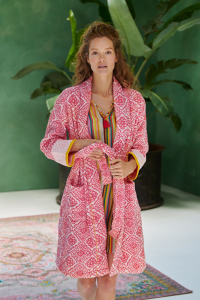 Schal Frottee Bademantel PIP STUDIO Jacquard Check Fuxia