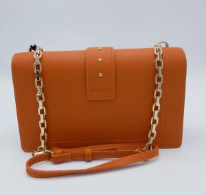 Mini Love Bag in pelle bottalata arancione Pinko.