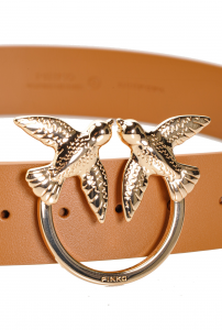 Cintura in morbida pelle mano seta con fibbia Love Birds Pinko