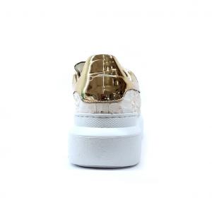 Sneaker bianca/oro pitonata Stau