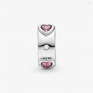 Clip Cuori rosa scintillante
