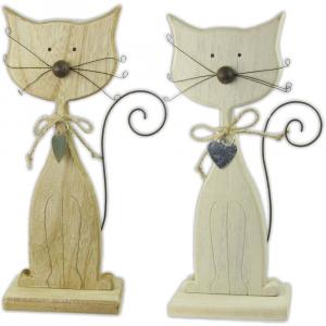 Gatti in legno con coda in metallo
