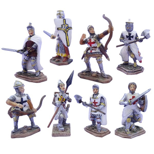Cavalieri templari medievali con balestre, scudi e lance h8