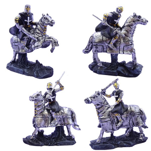 Cavalieri templari medievali a cavallo giubba nera h8