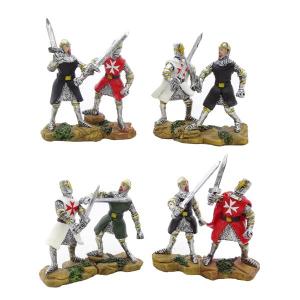Coppia di Cavalieri templari medievali con lancia h7.5