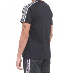 Kappa T Shirt Logo Tape Avirec Black da Uomo