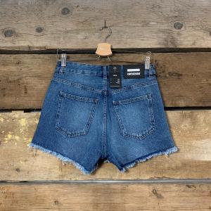 Pantaloncino Dr.Denim in Jeans Con Spacchi Laterali Blu Scuro