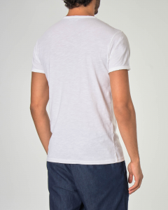 T-shirt serafino bianca in tessuto slub